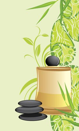 bamboo therapy: Spa oil and black stones on the decorative floral ornament Illustration