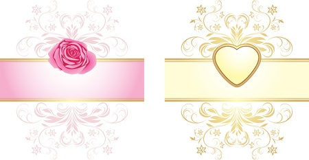 Ornamental elements with heart and rose for decor Stock Vector - 11938136