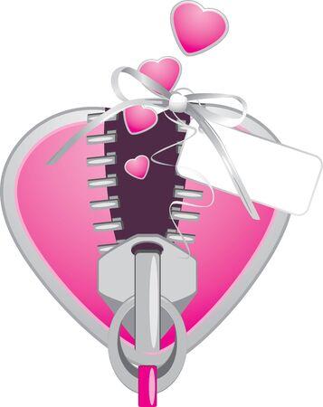metal fastener: Pink heart with zipper. Festive element
