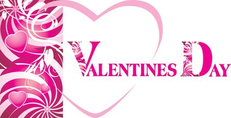 Pink hearts on the decorative background. Valentines card Vector