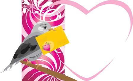 jay: Bird with festive envelope. Valentines card Illustration