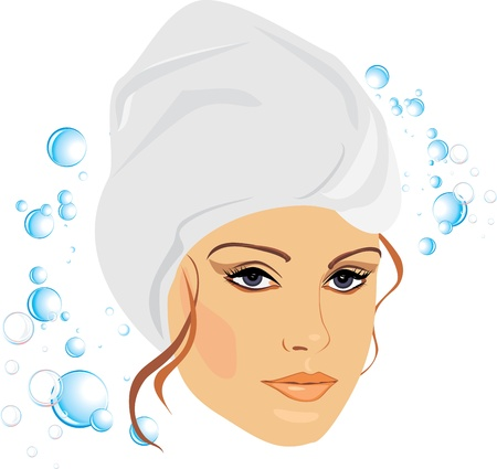 Woman in a towel after shower Vector