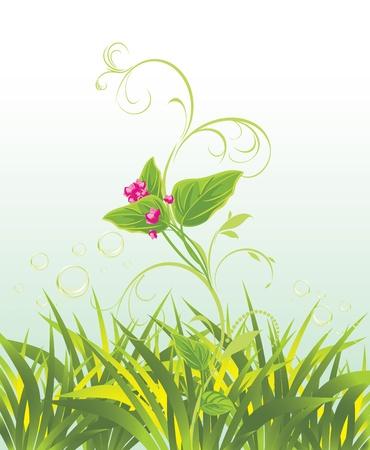 a sprig: Ramito de flores de color rosa y la hierba Vectores