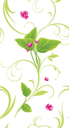 a sprig: Sprig with pink flowers. Decorative background Illustration