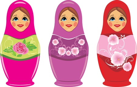 Russian matryoshka dolls isolated on the white Vectores