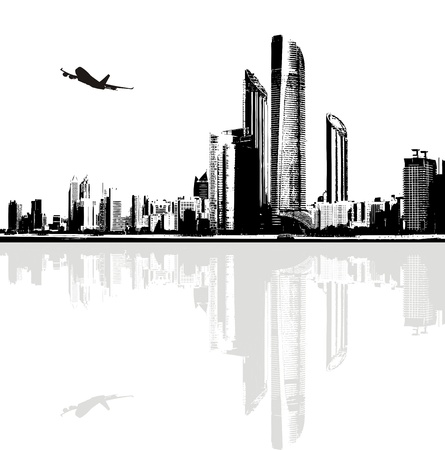 Black and white panorama of city buildings Illustration