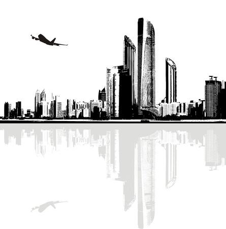 Zwart-wit panorama van de stad gebouwen Vector Illustratie