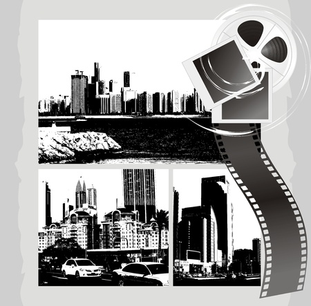 Cityscapes and film objects on the abstract background Stock Vector - 12043192