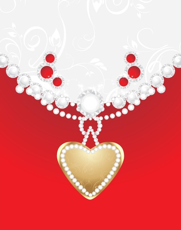 jewelry design: Heart with diamonds and strasses. Decorative background for jewelry design