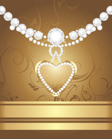 diamond clip art: Golden heart with diamonds and strasses on the decorative background