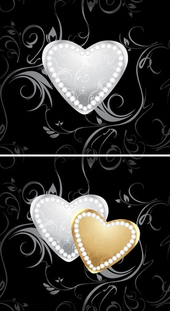 Golden and silver hearts with diamonds on the decorative background Stock Vector - 12168844