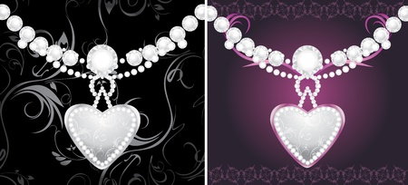 Silver hearts with diamonds on the decorative background Stock Vector - 12168845