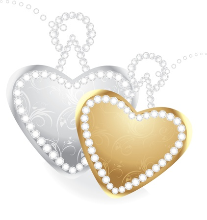 Golden and silver hearts with diamonds Stock Vector - 12168842