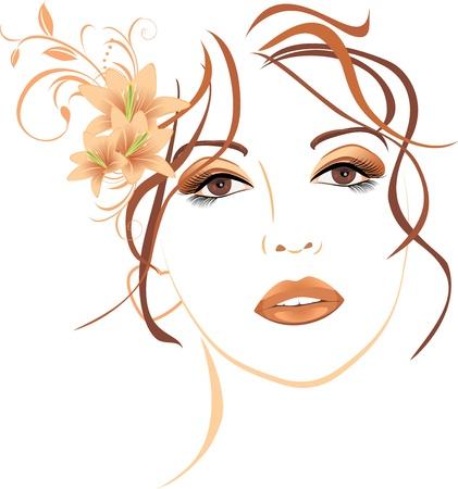 gezicht: Portret van mooie vrouw met lelies in het haar Stock Illustratie