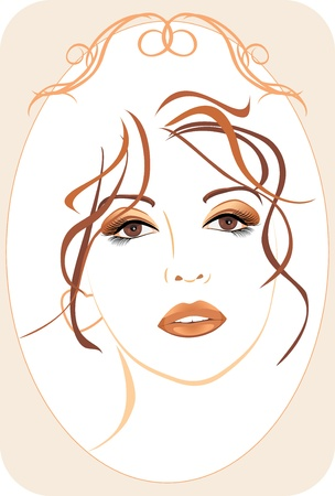 Portrait of beautiful woman in the decorative frame Stock Vector - 12168846