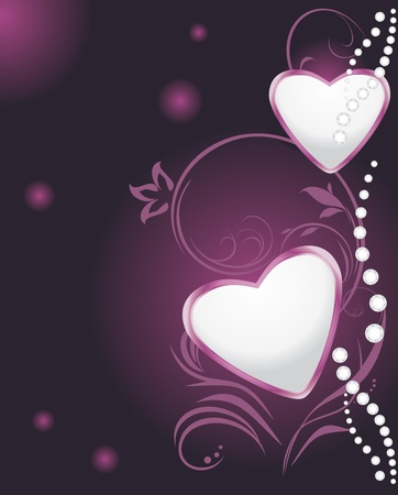 Shining hearts with diamonds on the decorative background Vector