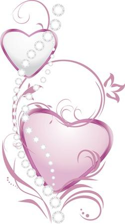 Luminoso corazones de plata y rosa con diamantes