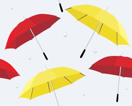 Umbrella and raindrops Vector