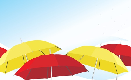 Umbrella and raindrops. Background Vector