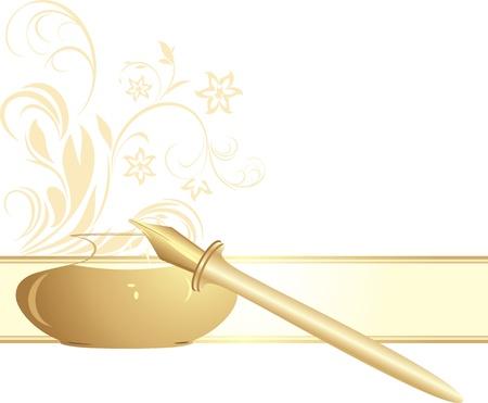 Veren pen en inktpot. Decoratieve banner Vector Illustratie