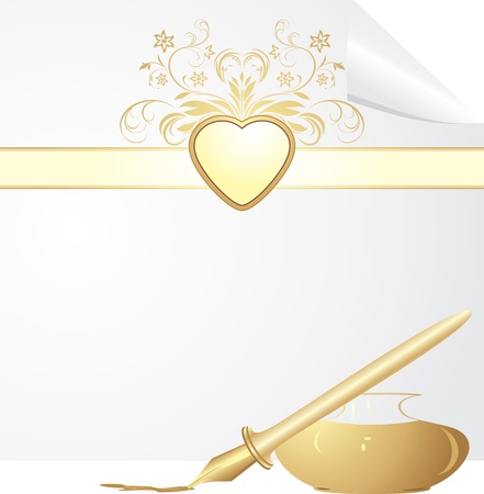 Feather pen and inkwell. Festive blank Vector