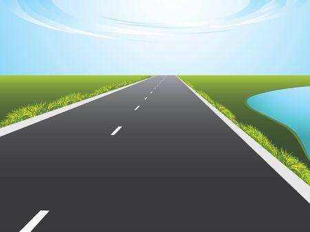 Highway along a lake Vector