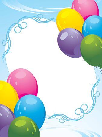 Colorful balloons decorative frame. Festive card Vector