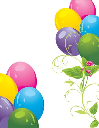 Colorful balloons and spring flowers Vector