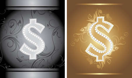 Shining golden and silver dollar sign on the decorative background Vector