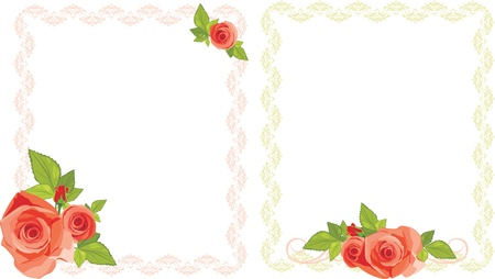 rose bud: Bouquets of roses in decorative frames Illustration