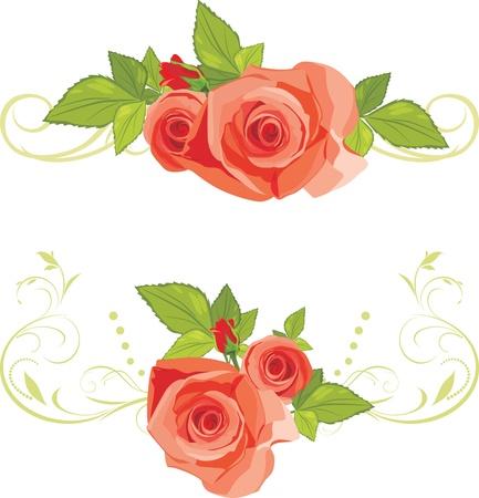 Boeketten van rozen. Decoratieve randen