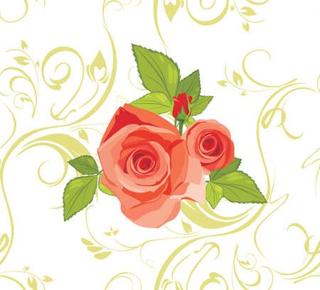red wallpaper: Bouquet of roses on the decorative background