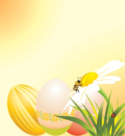 bee garden: Easter eggs, chamomile with ladybird and bee Illustration