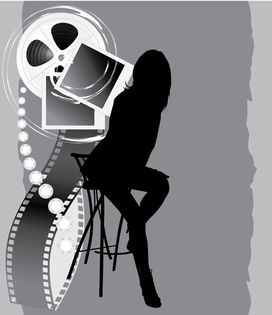 Female silhouette and film objects on the abstract background Vector