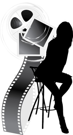 reporters: Female silhouette and film objects isolated on the white