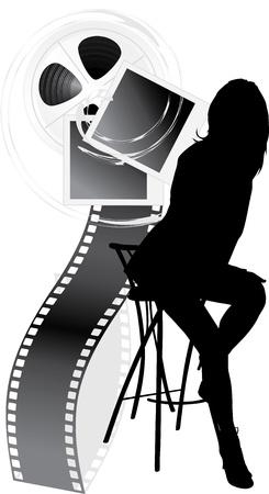 Silueta femenina y objetos de película aislados en el blanco
