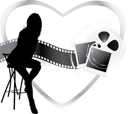 film industry: Female silhouette and film objects Illustration