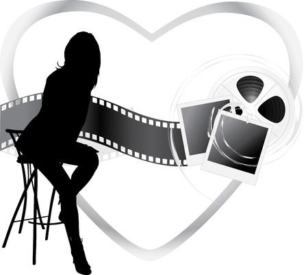Silueta femenina y el cine objetos