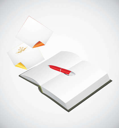 Opened notepad, ballpen and curled pages Stock Vector - 12474633