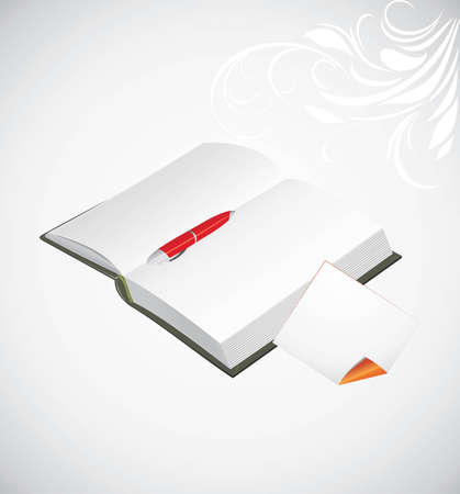 Opened notepad, ballpen and curled page on the abstract background Stock Vector - 12474601