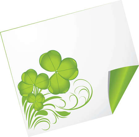 Curled page with clover Stock Vector - 12763619