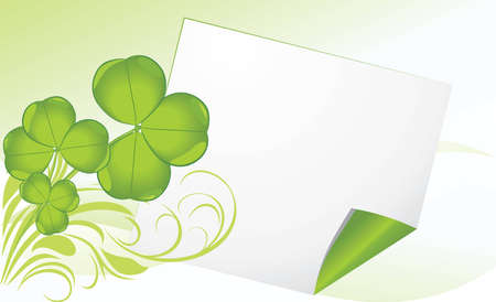 Curled page with clover  Festive banner Stock Vector - 12763652
