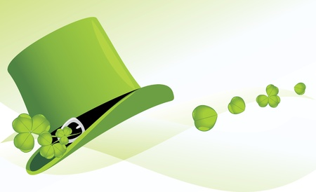St  Patrick s Day hat with clover  Festive banner Vector