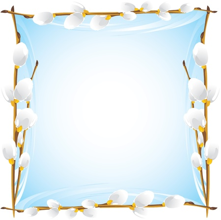 Frame with pussy willow branches Vector