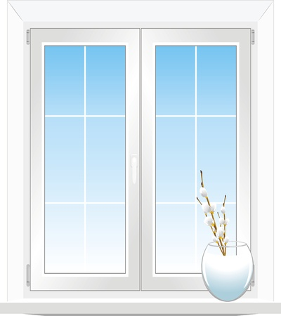 Window and vase with pussy willow branch Vector
