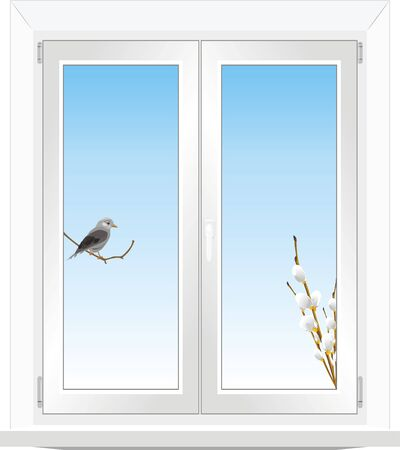 Bird and pussy willow branch in the window Vector