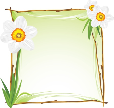 Wooden frame with daffodils Vectores