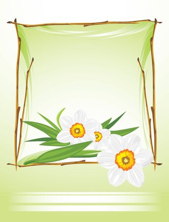 Frame with daffodils on the abstract background Vector