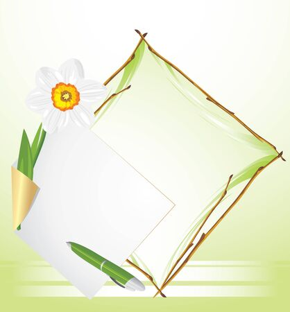 Frame with daffodil. Festive background Stock Vector - 12763665