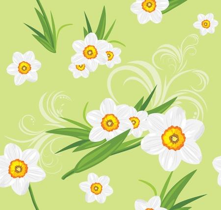 burgeon: Decorative daffodil background Illustration
